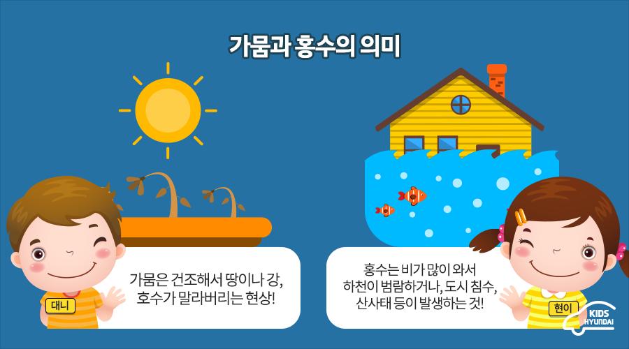 가뭄과 홍수의 의미. 대니 : 가뭄은 건조해서 땅이나 강, 호수가 말라버리는 현상! 현이 : 홍수는 비가 많이 와서 하천이 범람하거나, 도시 침수, 산사태 등이 발생하는 것!