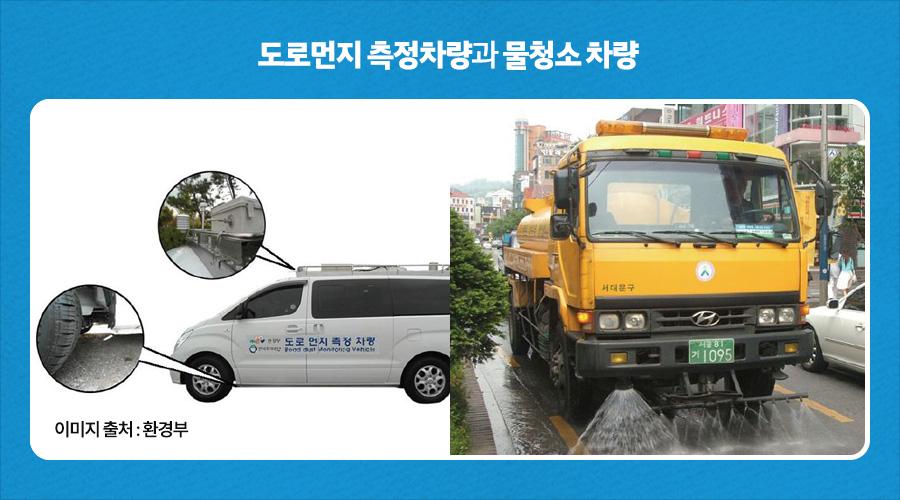 도로먼지 측정차량과 물청소 차량 - 이미지 출처 : 환경부